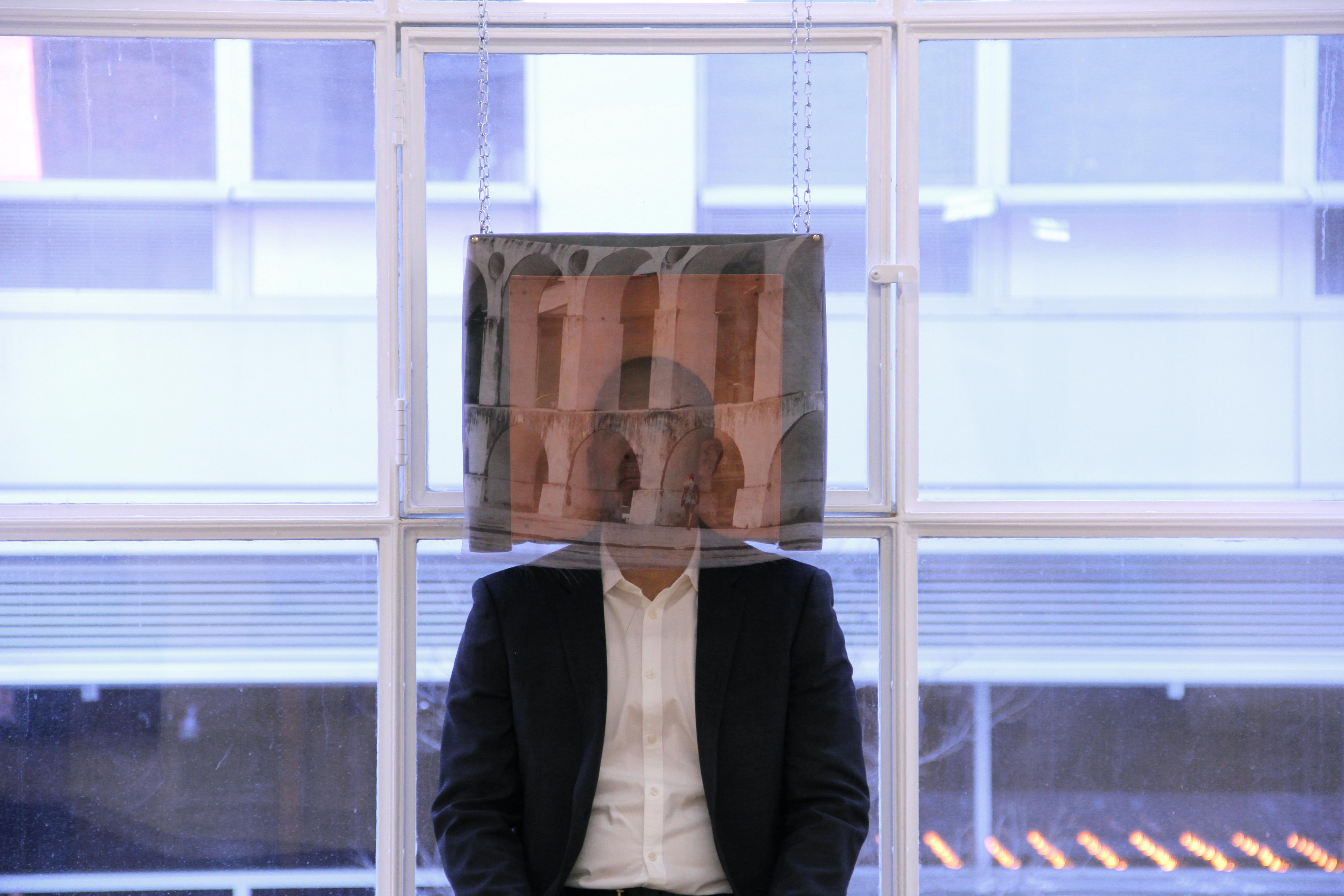 Sergei Tcherepnin, Ear Tone Box (Pied Piper Recedes), 2013, microsuede, wood, copper, silk, transducers, amplifier, iPod, 16 x 18 x 16 inches