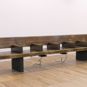 Sergei Tcherepnin, Motor-Matter Bench, 2013, wood subway bench, transducers, amplifier, HD media player, 28.5 x 20.5 x 126.5 inches