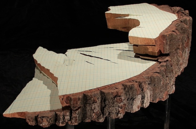 Martha Schlitt, Oak Ledger, 2003, ink, latex paint, oak on steel base, 30 x 28 x 8 inches