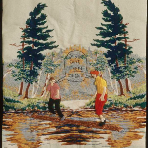 Darrel Morris, Log Rolling, embroidery and appliqué, 12 x 8 inches. Image courtesy of www.packergallery.com