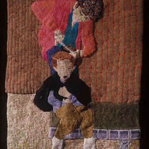 Darrel Morris, Homemade Hair Cut, embroidery and appliqué, 14.5 x 9 inches. Image courtesy of www.packergallery.com