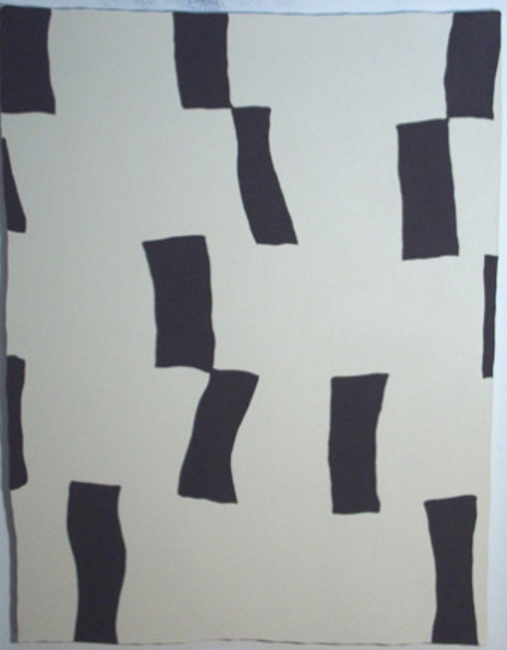 Joe Baldwin, Large Shape, 2001, oil on shaped canvas, 60 x 46 inches. Image courtesy of moniquemeloche.com