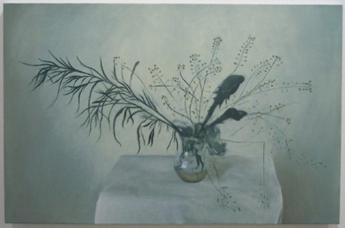 Joe Baldwin, Weeds, 2002, oil on canvas, 30 x 46 inches. Image courtesy of moniquemeloche.com