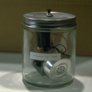 Paul Dickinson, The Repository of Synaptic Misfires, 1997-ongoing, Digital audio circuit, jar, switch, speaker, wire, sleep talk recording. Image courtesy of www.goshyes.com