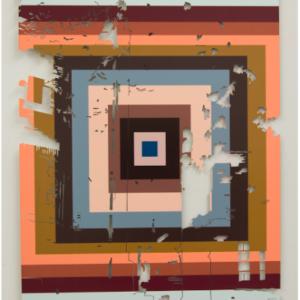 Tom Denlinger, EkstaticEdgewater: Color Analysis Samples, Sample_Elmdale-17a, dye-sublimate on aluminum, waterjet cut, 35 x24 x .75 inches