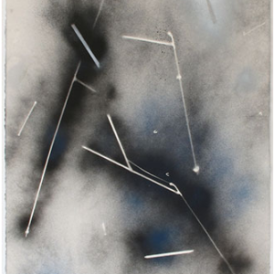 Demetrius Oliver, Comet II, 2015, enamel on paper, 30 x 22 inches