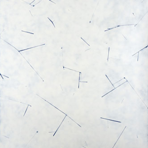Demetrius Oliver, Empyreal II, 2015, enamel and graphite pencil on paper, 70 x 51 1/2 inches