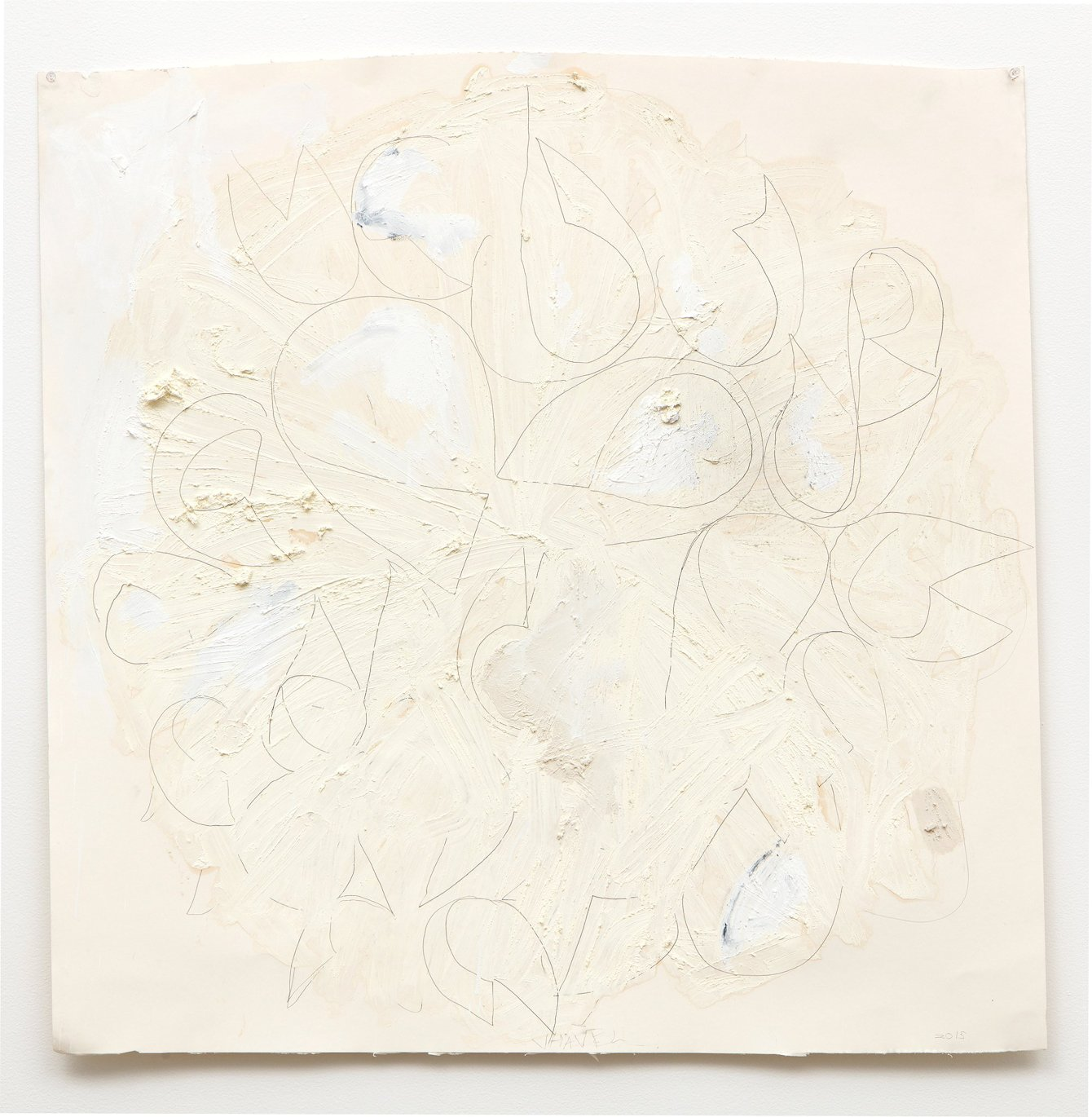 Joseph Havel, Thistle 5, 2015, graphite, oil paint, and oil stick on paper, 36 x 36 inches