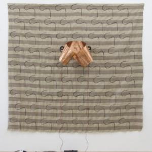 Sergei Tcherepnin, Thumb Ribbon, 2014, gouache on linen, copper, transducer, amplifier, 78 x 72.5 inches