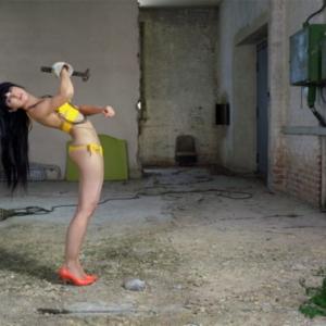 Liz Cohen, Zwickau Routine: Yellow Inward Turn, 2010, C-print, 16 × 20 inches. Image courtesy of www.salon94.com