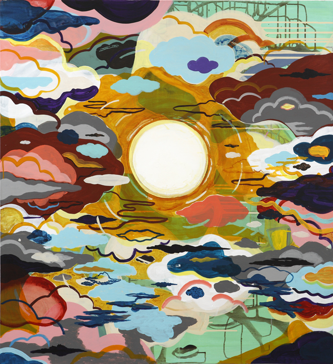 Scott Hewicker, Anthem Of The Sun, 2009, acrylic on canvas, 44 x 40 inches. Image courtesy of www.adagallery.com