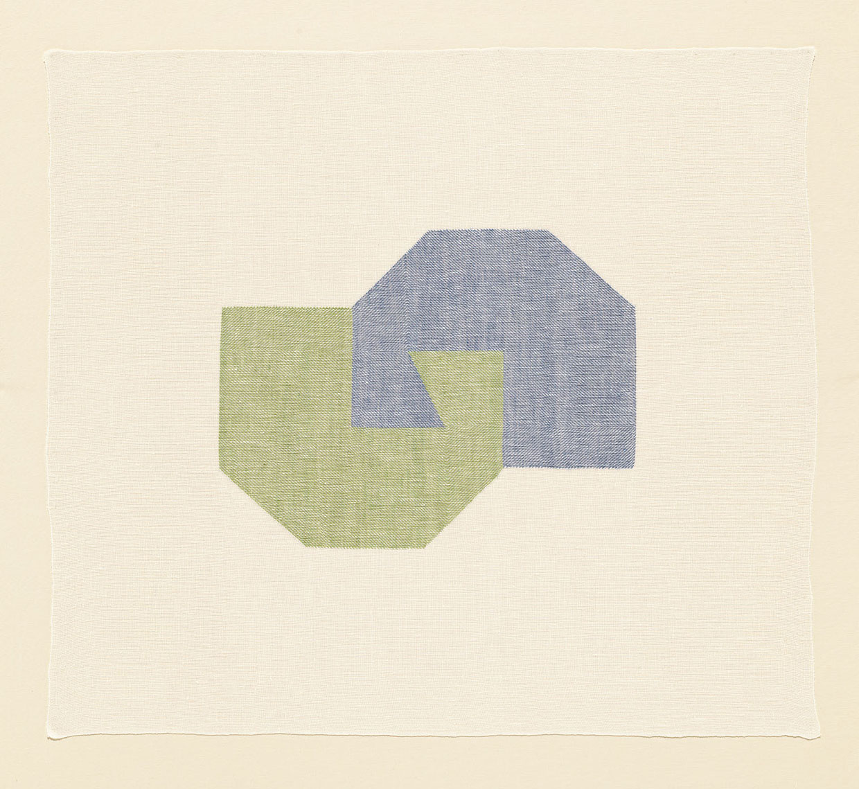 Ruth Laskey, Twill Series (Wasabi/Wedgewood Blue), 2016, hand-woven and hand-dyed linen, 25x27.5 inches