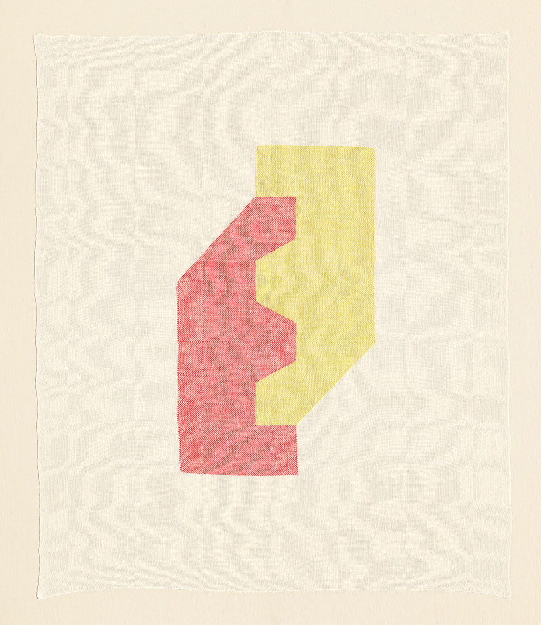 Ruth Laskey, Twill Series (Coral Pink/Lemon Curd), 2016, hand-woven and hand-dyed linen, 29.5x25 inches