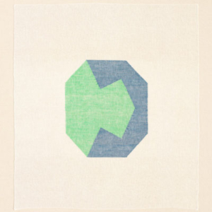 Ruth Laskey, Twill Series (Mint Green/Grecian Sea), 2015, hand-woven and hand-dyed linen, 27.5x25 inches