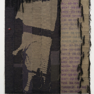 Josh Faught, Phone Tree, 2015, Hand dyed and woven hemp and pin on linen, text appropriated from 1990s queer punk support group, 96 x 76 inches