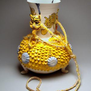 Jiha Moon, Yellow Chrysanthemum Gook, 2016, Earthen ware, underglaze, glaze, synthetic hair, hand knots, 11 x 11 x 14.5 inches