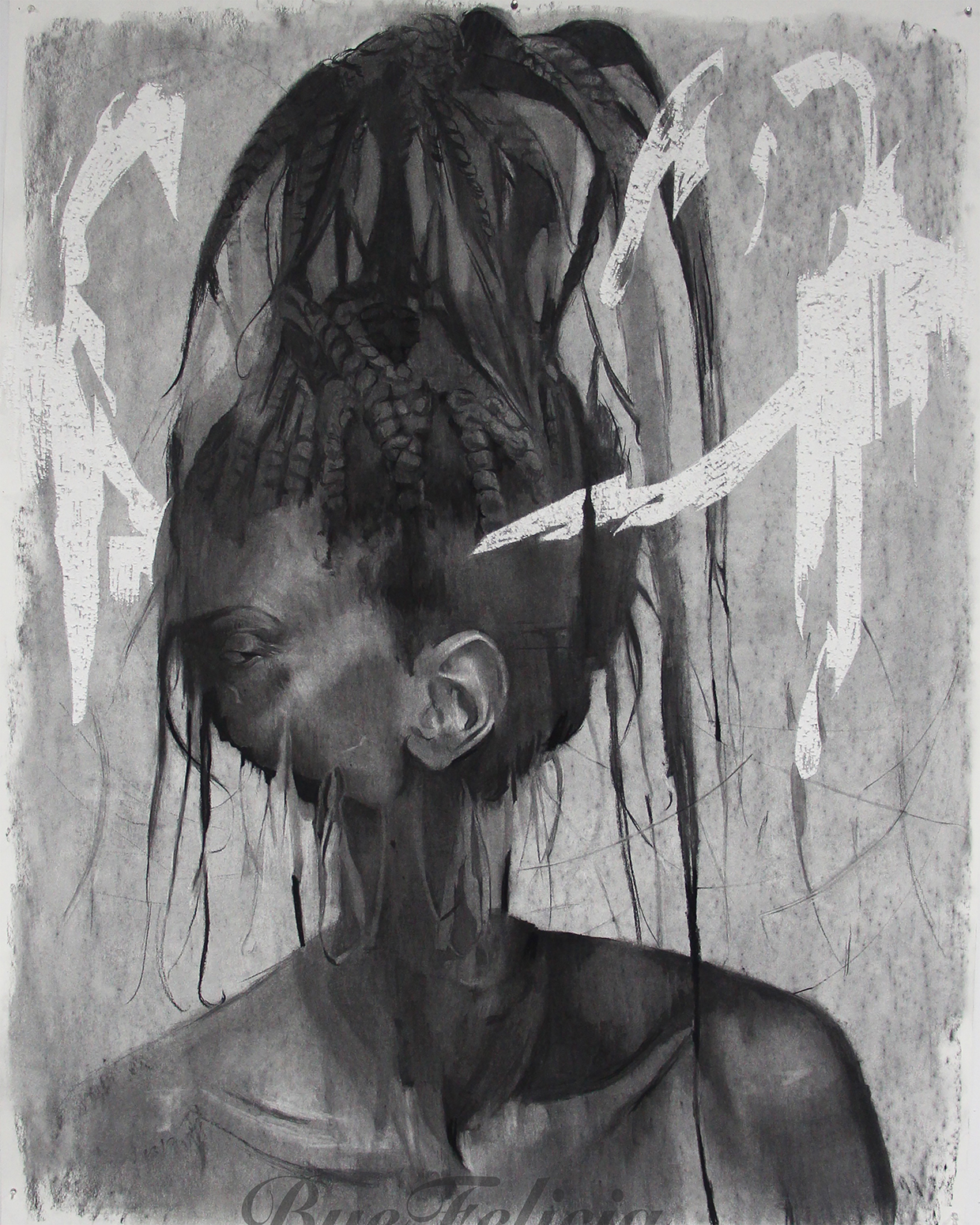 Cosmo Whyte, Cut Eye, 2016, charcoal on paper, 52 x 74 inches