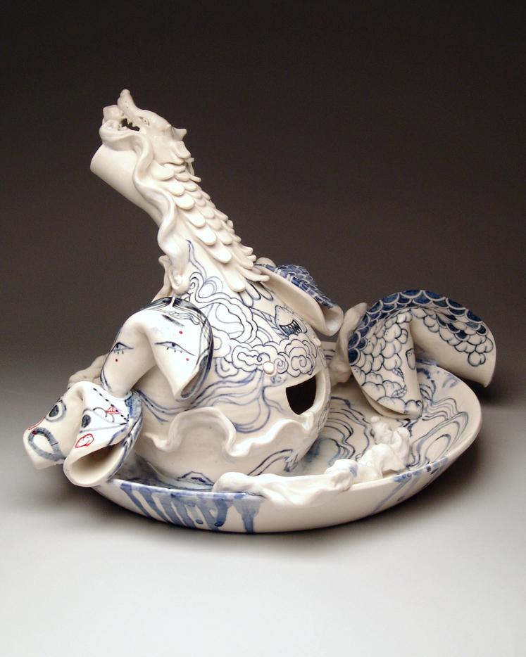 Jiha Moon, Immortal Desert II, 2015, Porcelain, underglaze, glaze, 15 x 14 x 10 inches