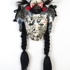 Jiha Moon, Anang, 2015, Earthenware, underglaze, glaze, wire, synthetic hair, plastic barret, 14.5 x 12 x 4.5 inches