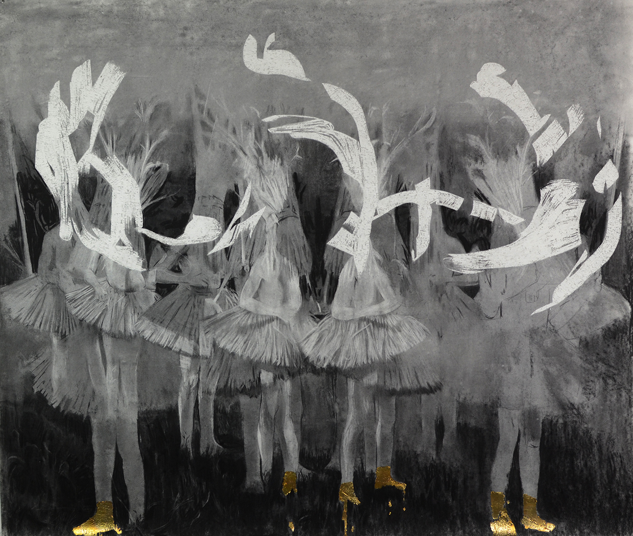 Cosmo Whyte, Golden Kicks, 2016, charcoal and gold leaf on paper, 70 x 59 inches