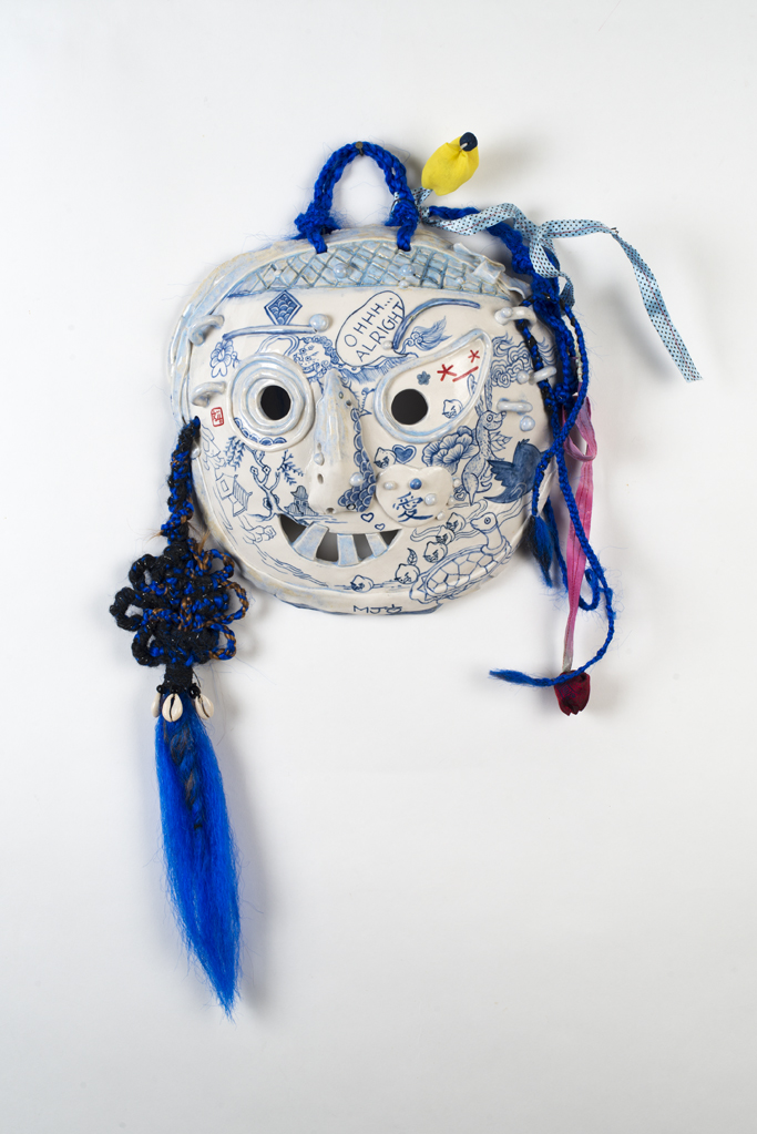 Jiha Moon, OHHHALRight, 2015, Porcelain, underglaze, glaze, wire, fabric, synthetic braided and hand knotted hair, shells, pony beads, Hanji beads, 25 x 16 x 4.5 inches