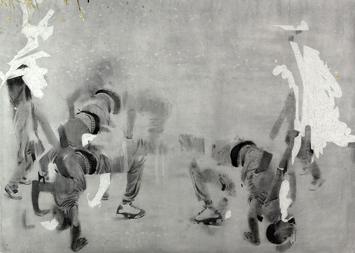 Cosmo Whyte, Sweetsweetback, 2015, charcoal and gold leaf on paper, 64 x 45 inches