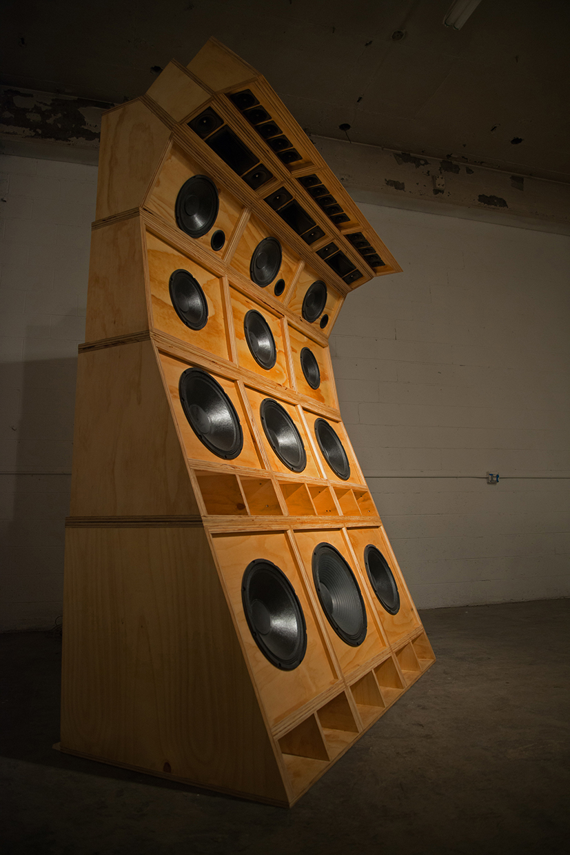 Cosmo Whyte, Wake the Town and Tell the People, 2015, plywood, 12 speakers, 3 horns, 15 tweeters, 8.5 x 6 x 4 feet