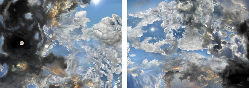 Ken Fandell, Days and Nights, Dawns and Dusks, North and South, East and West, Mine and Yours, 2008, diptych, montaged color photographic archival inkjet print on paper, 36.25 x 100 inches