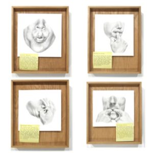 Gala Porras-Kim, Notes after G.M. Cowan 3-6, 2012, graphite on paper, post it, wood, dimensions variable