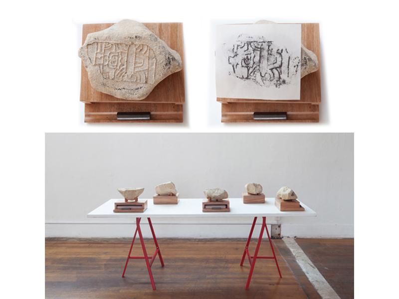 Gala Porras-Kim, San Miguel Sola Monument 1 Transfer Stone, 2013, sandstone, mahogany, graphite on newsprint, 8 x 10 ¾ x 8 ¾ inches