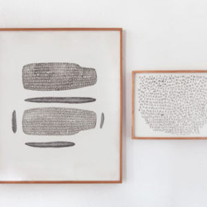 Gala Porras-Kim, Rongorongo text B (RR4), alien, human, animal, plant, 2013, graphite on paper, adhesive, artist's frame, diptych: 35 x 30 x 2 inches (L); 15 ½ x 19 ½ x 2 inches