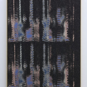 Mika Tajima, Negative Entropy (Kazue Kobata, Blue, Double), 2015, cotton, polyester, rayon, wood, wool, acoustic baffling felt, 54 x 42 inches