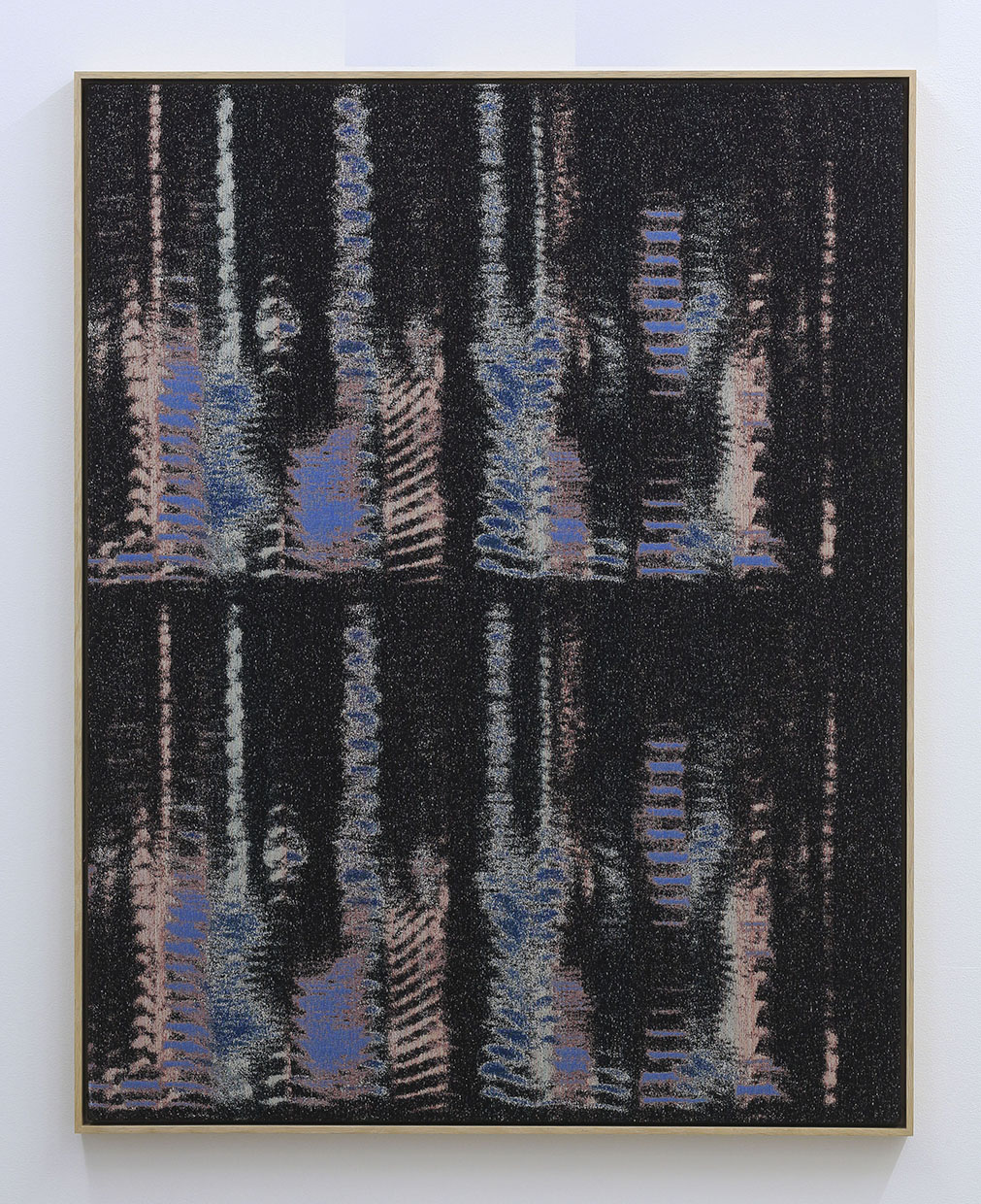 Mika Tajima, Negative Entropy (Kazue Kobata, Blue, Double), 2015, cotton, polyester, rayon, wood, wool, acoustic baffling felt, 54 x 42 inches