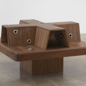 Mika Tajima, Social Chair, 2016, wood, jacuzzi nozzles, 34 x 60 x 60 inches