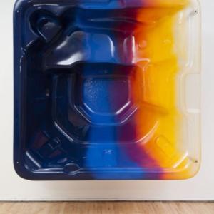 Mika Tajima, Epimelesthai Sautou (Take Care, 2), 2014, waterborne automotive paint on cast acrylic resin polymer, aluminum, 84 x 84 x 30 inches