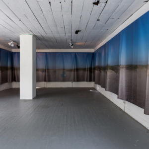Regina Agu, Sea Change (installation view at Project Row Houses), 2016, vinyl print, 80 x 6 feet