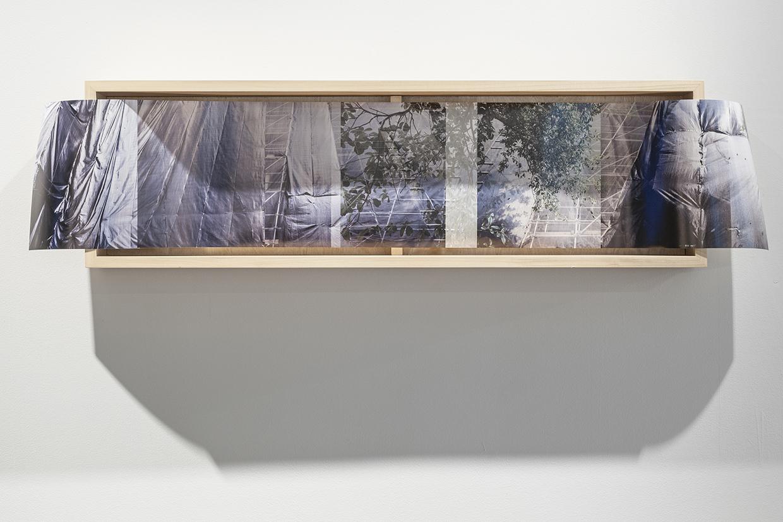 Regina Agu, Drape Panorama 02, 2017, digital photo print, wood, 50 3/4 x 12 1/2 x 5 1/2 inches