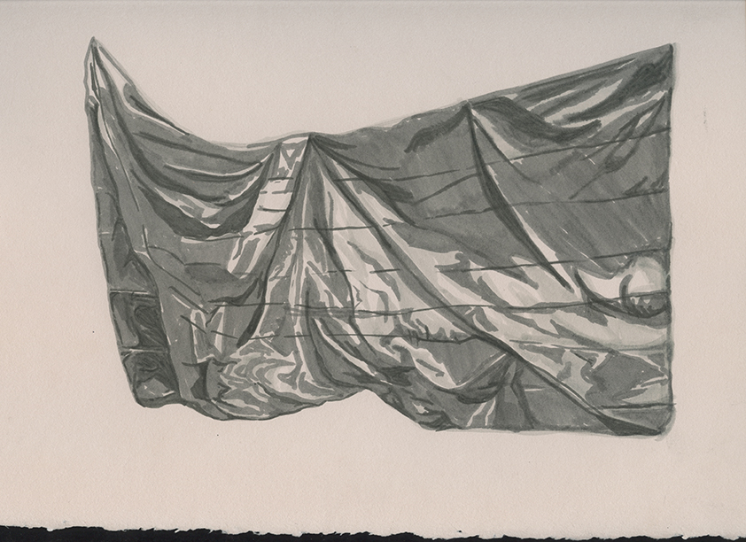 Regina Agu, Drape No. 4, 2016, ink on paper, 12 x 9 inches