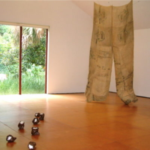 Kaneem Smith, Bearing Momentary Exotic Appeal and Relevance (installation view), 2008, burlap, 12 x 5 x 3 ½ feet