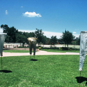 Kaneem Smith, Perceptive Limitation (installation view), 2009, fiberglass and steel, 3 x 9 ½ feet each