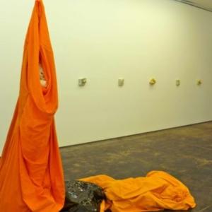 Kaneem Smith, Plantation Storyline: Gatherer (installation view), 2013, cotton, linen vinyl, iron scale, 18 inches x 22 inches x 40 feet